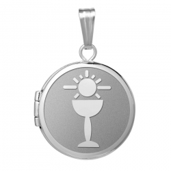 14k White Gold Round  Holy Communion  Locket