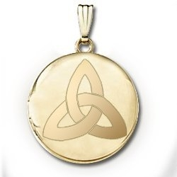 14k Yellow Gold Round  Celtic Knot   Picture Locket