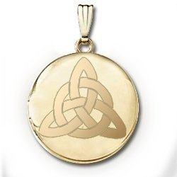 14k Yellow Gold Round  Celtic Trinity   Picture Locket