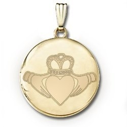 14k Yellow Gold Round Celtic  Claddagh   Picture Locket