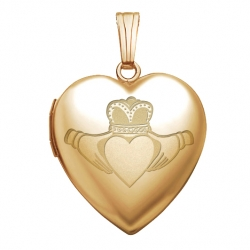 14K Yellow Gold  Sweetheart  Celtic Claddagh Locket