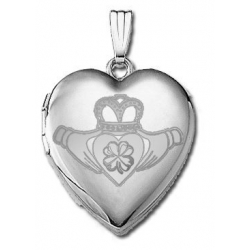 Sterling Silver   Sweetheart  Celtic Claddagh Clover Locket