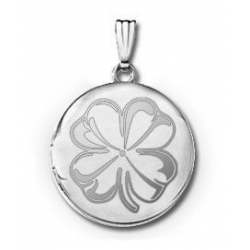 Sterling Silver Round 4 Leaf Clover Picture Locket