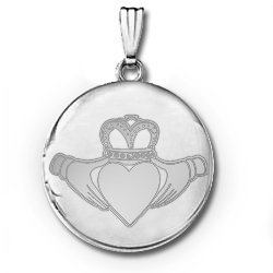 Sterling Silver Round  Claddagh  Locket
