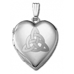 14k White Gold  Sweetheart  Celtic Trinity Locket