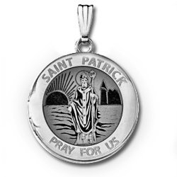 14k White Gold Round St  Patrick Locket