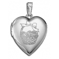 Sterling Silver Children s  Easter Basket  Heart Locket
