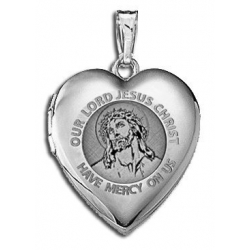 14K White Gold Children s  Our Lord Jesus  Heart Locket