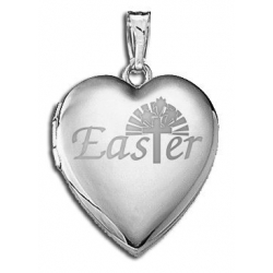 14K White Gold Children s  Easter  Heart Locket