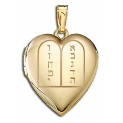 14K Yellow Gold   Ten Commandments  Sweetheart Locket