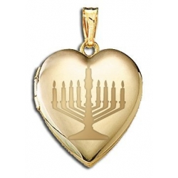 14K Yellow Gold   Menorah  Sweetheart Locket