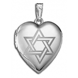 Sterling Silver   Star of David  Heart Locket