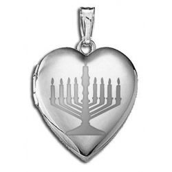 Sterling Silver   Menorah  Heart Locket