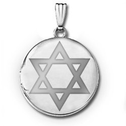 Sterling Silver Round  Star of David   Picture Locket