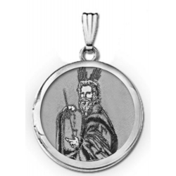 14k White Gold  Moses  Round Locket