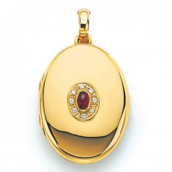 18K Yellow Gold Diamond   Ruby Locket