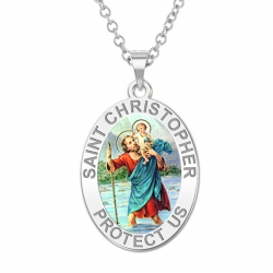 Saint Christopher OVAL Medal   Color EXCLUSIVE