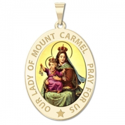Our Lady of Mount Carmel Medal  OVAL  Color EXCLUSIVE