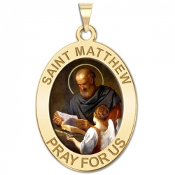 Saint Matthew OVAL Medal   Color EXCLUSIVE
