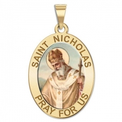 Saint Nicholas OVAL Medal   Color EXCLUSIVE
