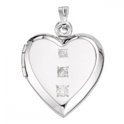 14k White Gold  I Forever Do  3 Stone Diamond Locket