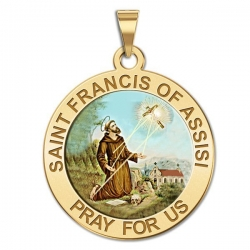 Saint Francis of Assisi Medal   receiving stigmata  Color EXCLUSIVE
