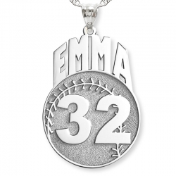 Custom Softball Charm or  Pendant w  Name   Number