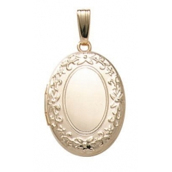 Solid 14k Yellow Gold Oval Picture Locket