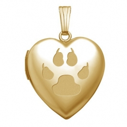Solid 14K Yellow Gold   Cat s Paw Print  Sweetheart Locket