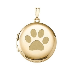 Solid 14k Yellow Gold Round  Dog s Paw Print  Picture Locket