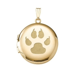 Solid 14k Yellow Gold Round Cat s Paw Print Picture Locket
