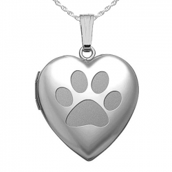 Sterling Silver   Dog s Paw Print  Sweetheart Heart Locket