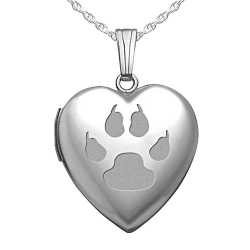 Sterling Silver   Cat s Paw Print  Sweetheart Heart Locket