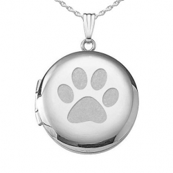 Sterling Silver  Dog s Paw Print  Round  Picture Locket