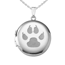 Sterling Silver  Cat s Paw Print  Round  Picture Locket