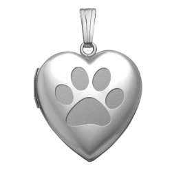 14k White Gold  Dog s Paw Prints  Sweetheart Locket