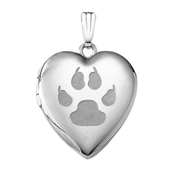 14k White Gold  Cat s Paw Prints  Sweetheart Locket