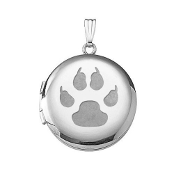 14k White Gold  Cat s Paw Print  Round Locket