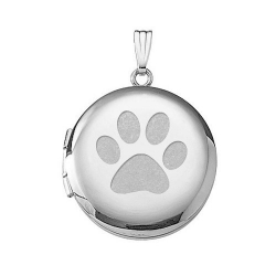 14k White Gold  Dog s Paw Print  Round Locket