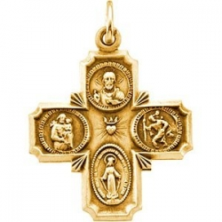 14K Gold Four Way Medal  H