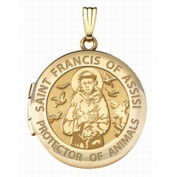 Solid 14k Yellow Gold Round  St Francis   Animal Protector  Picture Locket