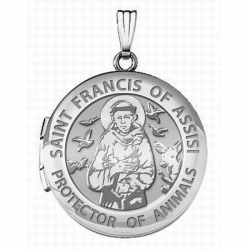 14k White Gold  St  Francis   Animal Protector   Round Picture Locket