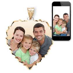 Small Scalloped Heart with Dia  Cut Edge Photo Pendant Picture Charm