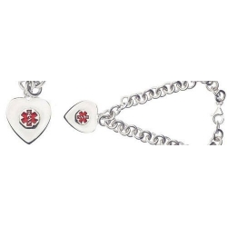 Sterling Silver Woman Medical Charm Bracelet