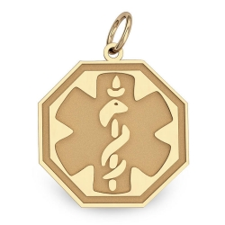 14K Gold Octagon Medical Charm