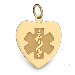 14K Gold Heart Medical Charm