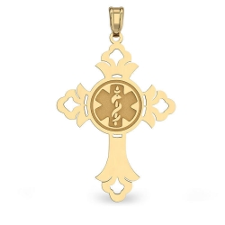 14K Gold Cross  Round   Medical Charm