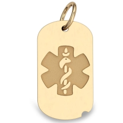 14K Gold Dog Tag Medical Pendant