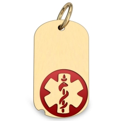 14K Gold Dog Tag Medical Pendant W  Red Enamel