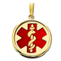 14K Yellow Gold Round W  Bezel  Medical Pendant W  Red Enamel